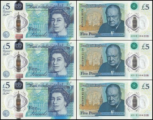 Great Britain 5 Pounds 3 Pieces Set, 2015, P-394, UNC, Matching Serial #