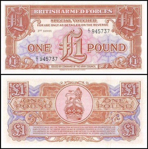 Great Britain Military 1 Pound Banknote, ND 1956, P-M29, UNC, 3rd Series