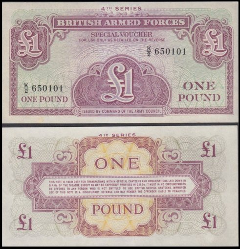 Great Britain Military 1 Pound Banknote, ND 1962, P-M36, UNC, 4th Series