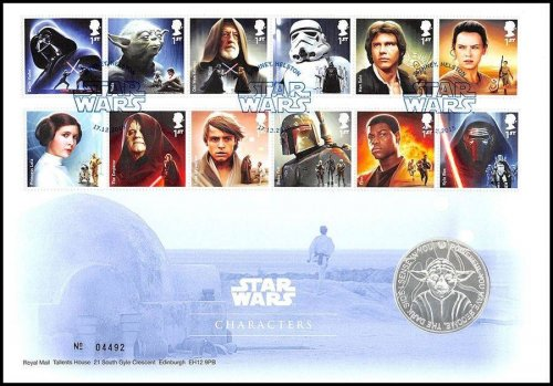 "Great Britain Star Wars ""Characters""Medal Cover Collectible Set,28.28g CuNi,2015"