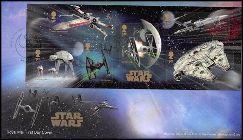 Great Britain Star Wars The Force Awakens First Day Cover Vehicles Stamp, 2015