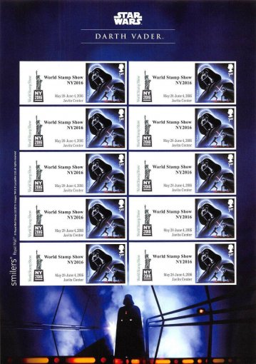 Great Britain Star Wars World Show New York Character Stamps, 2016, Darth Vader