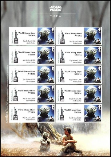 Great Britain Star Wars World Show New York Character Stamps, 2016, UNC, Yoda