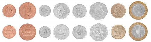 Guernsey 1 Penny - 2 Pounds, 8 Piece Full Coin Set, 1992-2012, Mint, Queen Elizabeth II