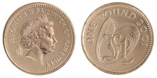 Guernsey 1 Pound 9.5g Nickel Brass Coin, 2001, KM # 110, Mint, Queen Elizabeth II
