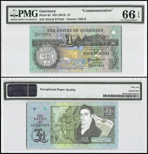 Guernsey 1 Pound, ND 2013, P-62, Commemorative, PMG 66