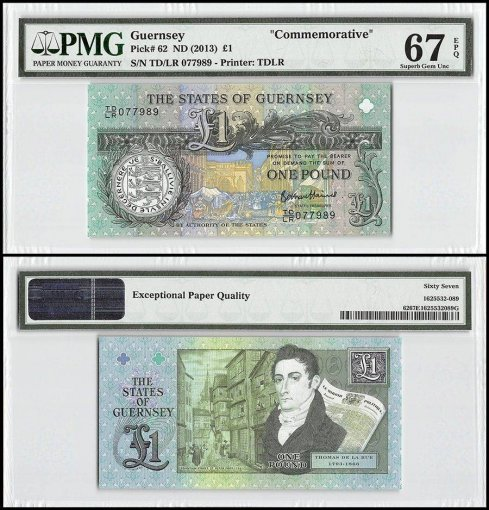 Guernsey 1 Pound, ND 2013, P-62, Commemorative, PMG 67