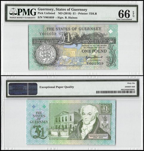 Guernsey 1 Pound, ND 2016, P-52d, PMG 66