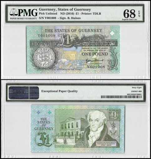 Guernsey 1 Pound, ND 2016, P-52d, PMG 68
