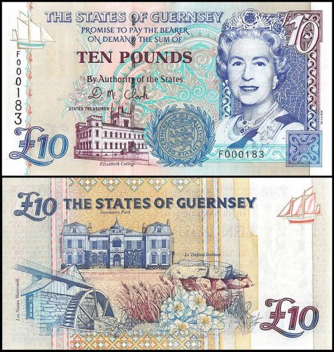 Guernsey 10 Pounds Banknote, 1995, P-57b, UNC, Low Serial #
