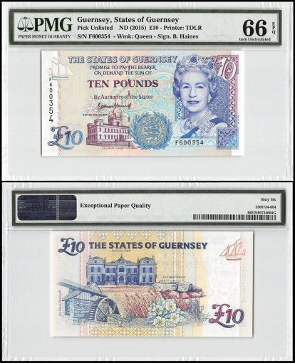 Guernsey 10 Pounds, ND 2015, P-New, Queen Elizabeth II, PMG 66