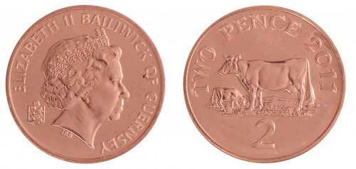Guernsey 2 Pence 7.12g Copper Plated Steel Coin, 2011, KM # 96, Mint, Queen Elizabeth II, Cows