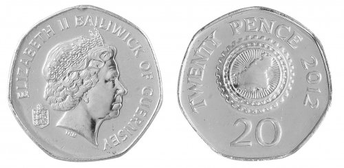 Guernsey 20 Pence 5g Copper Nickel Coin, 2012, KM # 90, Mint, Queen Elizabeth II