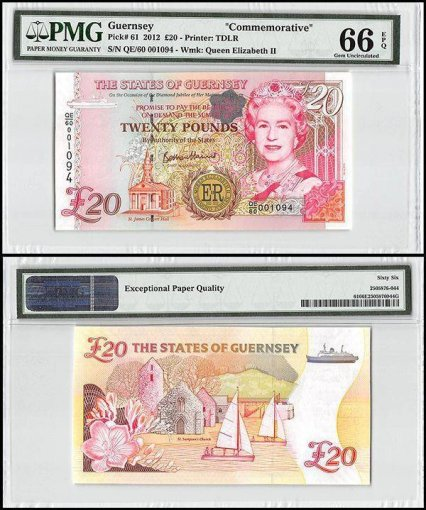 Guernsey 20 Pounds, 2012, P-61, Queen Elizabeth II, Commemorative, PMG 66