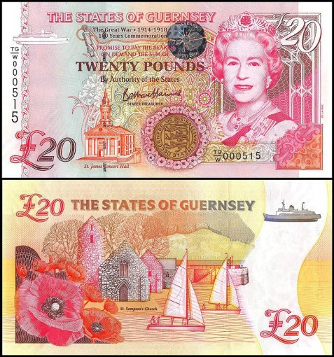 Guernsey 20 Pounds Banknote, 2018, P-New, UNC, Queen Elizabeth II