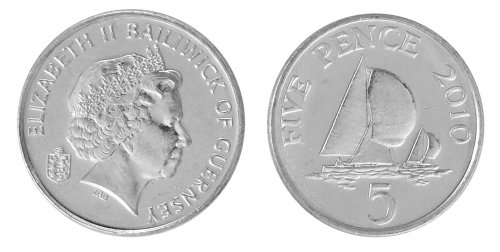 Guernsey 5 Pence 3.25g Nickel Plated Steel Coin, 2010, KM # 97, Mint, Queen Elizabeth II, Yachts