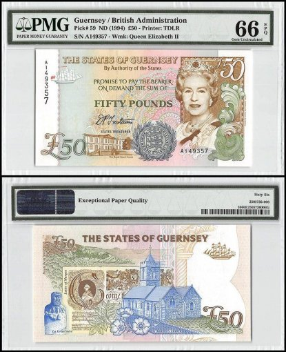 Guernsey 50 Pounds, ND 1994, P-59, Queen Elizabeth II, PMG 66