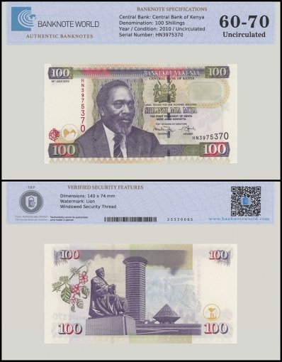 Kenya 100 Shillings Banknote, 2010, P-48e, UNC, TAP 60 - 70 Authenticated