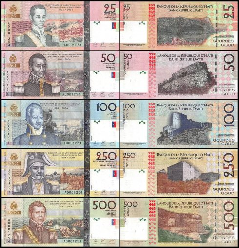 Haiti 25 - 500 Gourdes 5 Piece Full Set, 2004, P-273-277, UNC, Matching Serial #
