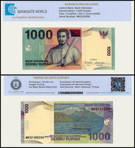 Indonesia 1,000 Rupiah Banknote, 2013, P-141m, UNC, TAP Authenticated