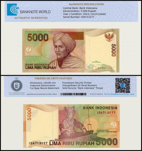 Indonesia 5,000 Rupiah Banknote, 2014, P-142n, UNC, TAP Authenticated
