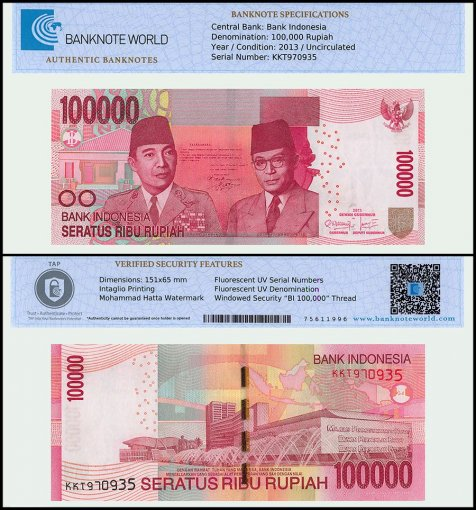 Indonesia 100,000 Rupiah Banknote, 2013, P-153c, UNC, TAP Authenticated