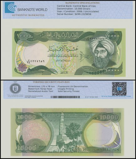 Iraq 10,000 Dinars Banknote, 2006, P-95c, UNC, Replacement, TAP Authenticated