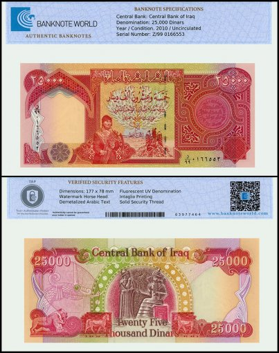Iraq 25,000 Dinar Banknote, 2010, P-96e, UNC, Replacement, TAP Authenticated