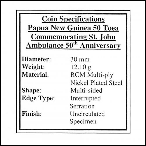 Papua New Guinea 50 Toea 12g Nickel Plated Steel Coin, 2007, KM # 53, Mint