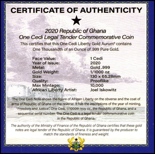 Ghana 1 Cedi Gold Plated Coin, 2020, with COA and Folder, Mint