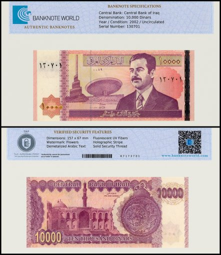 Iraq 10,000 Dinars Banknote, 2002, P-89, UNC, TAP Authenticated