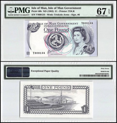 Isle of Man 1 Pound, 1983, P-40b, Queen Elizabeth II, PMG 67