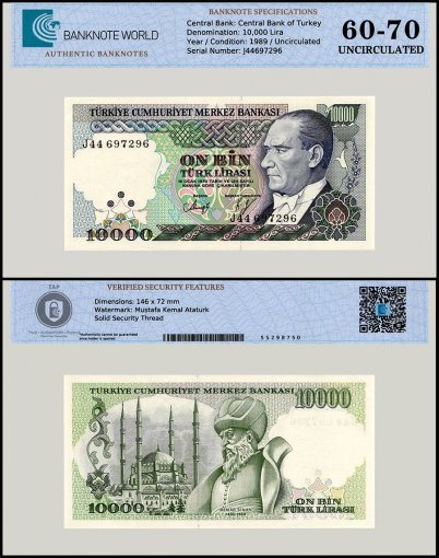 Turkey 10,000 Lira Banknote, 1989, P-200a, UNC, TAP 60 - 70 Authenticated