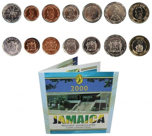 Jamaica 1 Cent - 20 Dollars Nickel/Copper Plated Steel, 7 Piece Full Coin Set, 2000