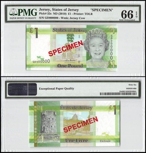 Jersey 1 Pound, ND 2010, P-32s, GD Series, Queen Elizabeth II, Specimen, PMG 66