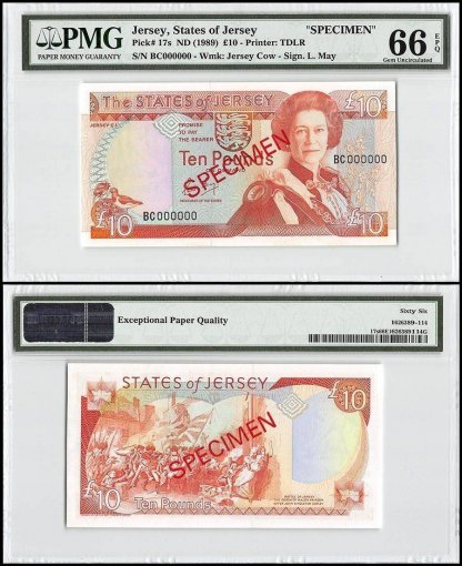 Jersey 10 Pounds, ND 1989, P-17s, BC Series, Queen Elizabeth II, Specimen, PMG 66