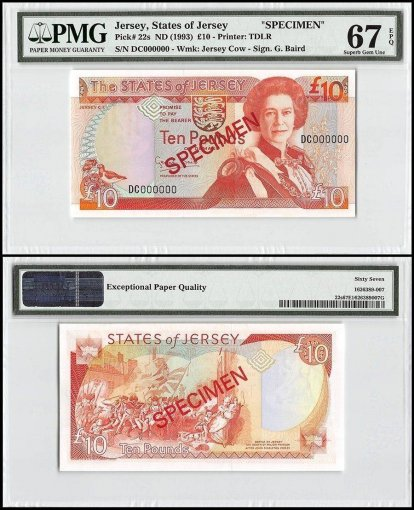 Jersey 10 Pounds, ND 1993, P-22s, DC Series, Queen Elizabeth II, Specimen, PMG 67