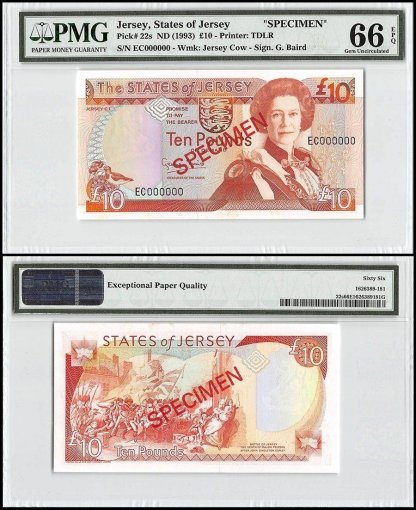 Jersey 10 Pounds, ND 1993, P-22s, EC Series, Queen Elizabeth II, Specimen, PMG 66