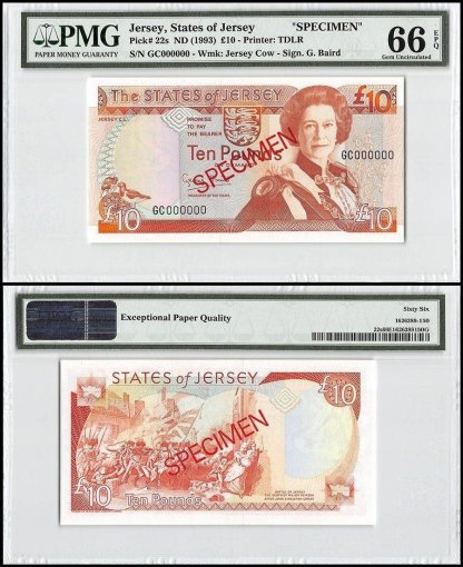 Jersey 10 Pounds, ND 1993, P-22s, GC Series, Queen Elizabeth II, Specimen, PMG 66