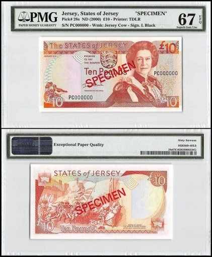 Jersey 10 Pounds, ND 2000, P-28s, PC Series, Queen Elizabeth II, Specimen, PMG 67