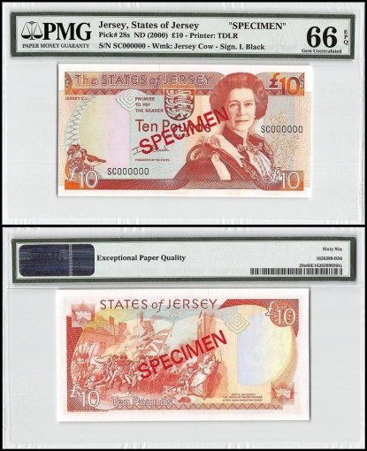 Jersey 10 Pounds, ND 2000, P-28s, SC Series, Queen Elizabeth II, Specimen, PMG 66
