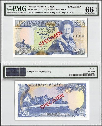 Jersey 20 Pounds, ND 1989, P-18s, AC Series, Queen Elizabeth II, Specimen, PMG 66
