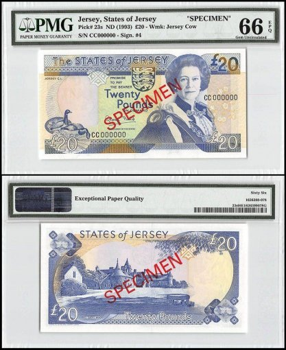 Jersey 20 Pounds, ND 1993, P-23s, CC Series, Queen Elizabeth II, Specimen, PMG 66