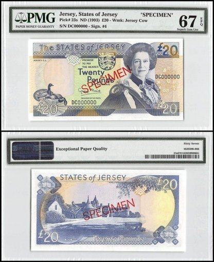 Jersey 20 Pounds, ND 1993, P-23s, DC Series, Queen Elizabeth II, Specimen, PMG 67