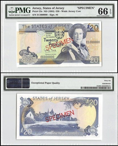 Jersey 20 Pounds, ND 1993, P-23s, EC Series, Queen Elizabeth II, Specimen, PMG 66