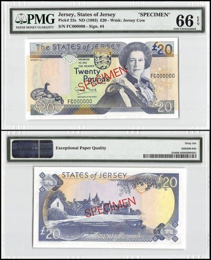 Jersey 20 Pounds, ND 1993, P-23s, FC Series, Queen Elizabeth II, Specimen, PMG 66
