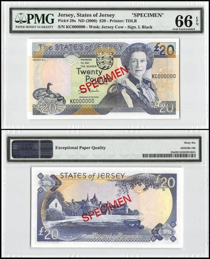Jersey 20 Pounds, ND 2000, P-29s, KC Series, Queen Elizabeth II, Specimen, PMG 66