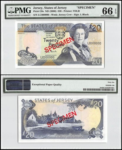 Jersey 20 Pounds, ND 2000, P-29s, LC Series, Queen Elizabeth II, Specimen, PMG 66
