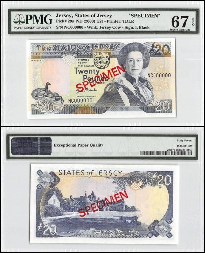 Jersey 20 Pounds, ND 2000, P-29s, NC Series, Queen Elizabeth II, Specimen, PMG 67