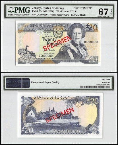 Jersey 20 Pounds, ND 2000, P-29s, QC Series, Queen Elizabeth II, Specimen, PMG 67
